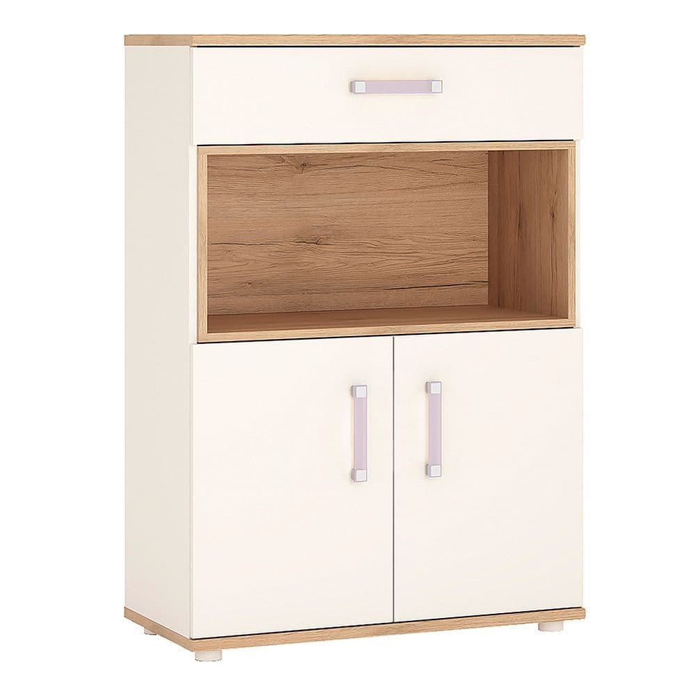 Kinder 2 Door 1 Drawer Cupboard with open shelf in Light Oak and white High Gloss (lilac handles)